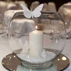Multi-purpose fish bowls / ornaments decorative candle holders / vases bargain - New Sites Wedding Decorations, Christmas Decorations, Butterfly Table Decorations, Butterfly Centerpieces, Diy Christmas, Fish Bowl Decorations, Baptism Table Decorations, Candle Holder Decor, Candle Holders Wedding