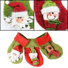 Creative Christmas Gift Present Xmas Stocking Candy Sack 3D Santa Deluxe Bag