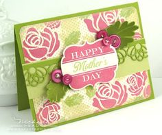 "MOTHER'S DAY CARD    STAMPS: Happy Day, Rosie Posie (available December 15th) Polka Dot Basics II  INK: Vintage Cream, Autumn Rose, Spring Moss, Simply Chartreuse, Fine Linen, Ripe Avocado, Tea Dye Duo  PAPER: Vintage Cream, Spring Moss, Simply Chartreuse  OTHER: Happy Day die, Filigree Border die, Rosie Posie dies, Autumn Rose buttons, cream button twine  FINISHED SIZE: 4-1/4"" x 5-1/2"""