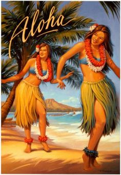 - Aloha - Hawaii Girl Hula Dancers - by Kerne Erickson - Giclee Art Print & Poster Vintage Travel Posters, Vintage Postcards, Poster Vintage, Mahalo Hawaii, Hawaii Hula, Hawaii Hawaii, Visit Hawaii, Hawaian Party, Hula Dancers