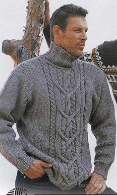 мужской вязаный свитер косами