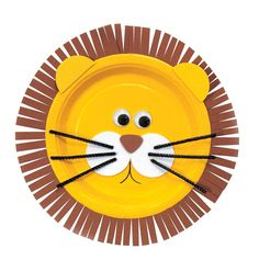 "Use this lion craft paper plate and glue another yellow plate to the back. Insert a painted dowel between the two. Tie some paper streamers or ribbon at the top and use it for your Lion King Parade. Dance to the Disney song ""I Can't Wait to be King."""