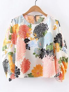 White Autumn and Spring and Summer Floral Three Regular Round Casual Casual Chrysanthemum Print Blouse Casual Tops For Women, Blouses For Women, Floral Tops, Floral Prints, Floral Blouse, Printed Blouse, Textiles, Beachwear, Swimwear