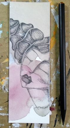 "2""x6"" Graphite & Watercolor Bookmark - ""Day 20 - Shooting Stars"""