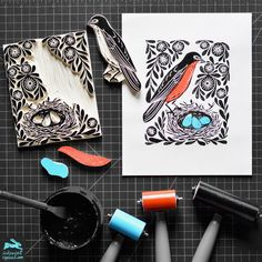 Linocut printmaking and surface pattern design by licensing artist Andrea Lauren, author of Block Print. Stamp Printing, Screen Printing, Stencil, Linoleum Block Printing, Stamp Carving, Handmade Stamps, Linoprint, Art Graphique, Tampons