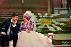 Islamic Wedding with pretty purple dress for the bride.