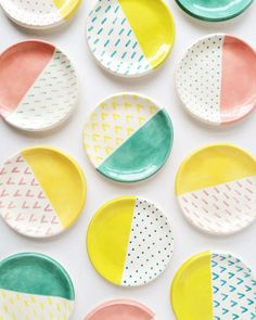 Candy colored ring dishes by Quiet Clementine