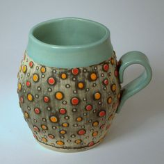 Aqua Polka Dot Mug by kristylombard on Etsy