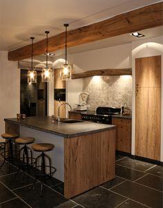 Large Kitchen Design, Kitchen Room Design, Home Decor Kitchen, Interior Design Kitchen, Cosy Kitchen, Country Kitchen, New Kitchen, Guest House Cottage, Cabin Kitchens