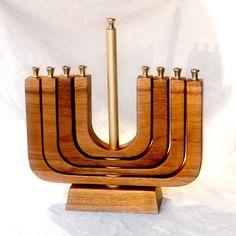 Kinetic Hanukkah Menorah Hanukkah Menorah, Hannukah, Jewish Art, Woodworking Projects Plans, Fused Glass, Candle Holders, Candles, Diy, Mirror
