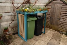 Double BinDock in chalky blue. Can support a growing roof (much more than a sedum mat) and therefore lots more plant types. Front House Landscaping, Backyard Landscaping, Back Gardens, Small Gardens, Roof Gardens, Formal Gardens, Bin Shed, Garbage Can Storage, Bin Store