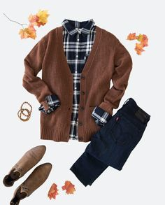 Soft plaid + cozy knits = the (unofficial) outfit of the season. Add dark denim and brown booties and you're ready to go apple picking, leaf peeping, and everything in between.