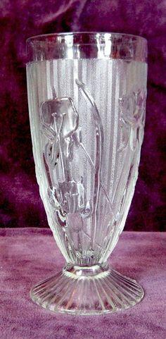Jeannette Glass Iris & Herringbone Footed Iced Tea Glasses...elegant!