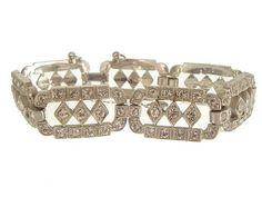 Art Deco Bracelet Vintage Rhinestone Link Art Deco Jewelry 1920s Wedding Jewelry /Anna