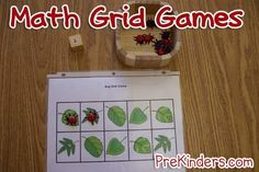 These grid games will help Pre-K and Preschool kids practice math skills: one-to-one correspondence, counting, numeral recognition, and subtilizing. January Preschool Themes, Numbers Preschool, Math Numbers, Preschool Ideas, Preschool Crafts, Preschool Learning, Kindergarten Math, Teaching Math, Teaching Ideas