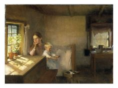 A Woman and Child in a Sunlit Interior, 1889, Albert Edelfelt