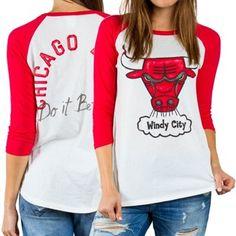 Women's Chicago Bulls White All-American Three-Quarter Sleeve Raglan T-Shirt