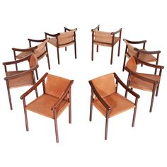 Set of Eight Vintage Brazilian Cejera Wood and Leather Chairs | From a unique collection of antique and modern dining room chairs at https://www.1stdibs.com/furniture/seating/dining-room-chairs/