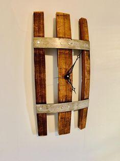 Rustic Wall Clocks, Wood Clocks, Rustic Walls, Whiskey Barrel Furniture, Wine Furniture, Rustic Furniture, Furniture Design, Wine Barrel Crafts, Barrel Projects