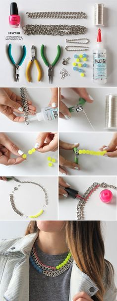 13 Wonderful DIY Jewelry Crafts / Rhinestone Neon Necklace - More Accessories... http://AmericasMall.com/categories/accessories-jewelry.html