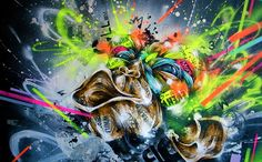 """Contemporary artwork with a vibrant urban art feel, using wild colors and shapes - """"Climb"""" wall art by Taka Sudo from Great BIG Canvas Stretched Canvas Prints, Canvas Art Prints, Canvas Wall Art, Big Canvas, Framed Canvas, Canvas Size, Framed Art, Framed Prints, Abstract Portrait"""