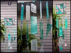 Stained Glass Geometric Panel  Windchime Teal Green by BerlinGlass #stained_glass #windchime #garden