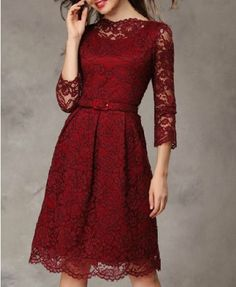 Vintage Seven Sleeves Lace Dress
