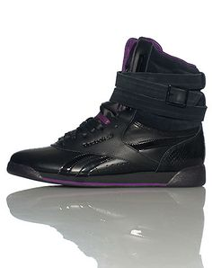15f691ffec1 REEBOK Alicia Keys High top women s sneaker Patent leather accents Padded  tongue with REEBOK logo Cushioned