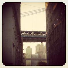 A glimpse of the Manhattan Bridge in DUMBO, Brooklyn #NYC