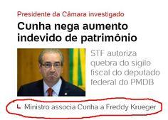 Ministro associa #EduardoCunha a #FredKrueger   Capa do #Uol   8 de janeiro de 2015   http://painel.blogfolha.uol.com.br/2016/01/08/para-ministro-de-dilma-eduardo-cunha-virou-o-freddy-krueger-da-crise/ …   #ataquedeestrelismo