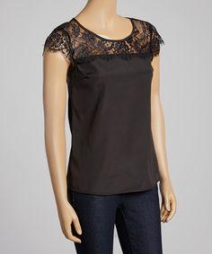 Black Sheer Lace Cap-Sleeve Top
