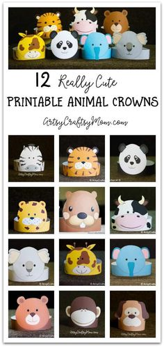 12 Adorable Party Animal Printable Hats for a Jungle Party Put aside the devices and engage the kids in some pretend play with these cute printable animal crowns – just print, cut, stick and you& all set to play! Party Animals, Jungle Animals, Animal Crafts For Kids, Art For Kids, Crown For Kids, Crown Template, Printable Animals, Paper Crowns, Animal Hats