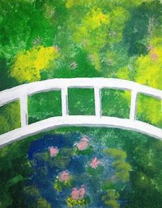 Runde's Room: Friday Art Feature - Mingling with Monet--Step by Step directions on how to do this project with students using acrylics, masking tape and card stock.:
