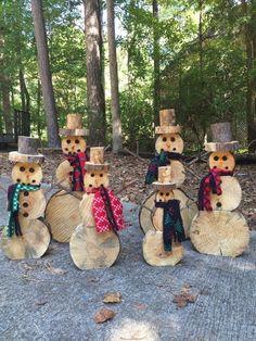 Trozo de madera pequeño muñeco de nieve decoración de Navidad image 5