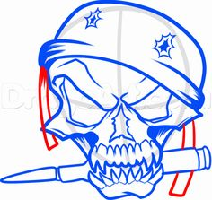 how to draw a military skull step 10