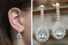 'Arctic tear' blue topaz, CZ and sterling silver earrings, Bhavesh on Novica.com, $54.99