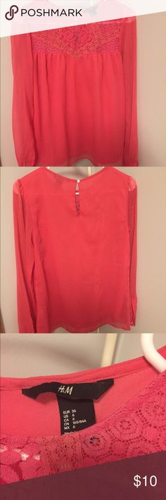 Sheer lace blouse Pink blouse, worn only twice! Super comfortable and can be dressed up or down. H&M Tops