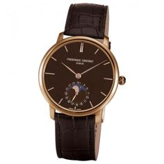 Frederique Constant Slim Line Moonphase Brown Dial 18kt Rose Gold Brown Alligator Men's Watch FC-705C4S9