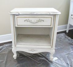 Before of  an easy thrifty night stand makeover