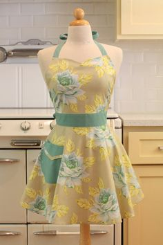 Retro Sweetheart Apron Turquoise Flowers BELLA Full Apron on Etsy, $31.04 CAD