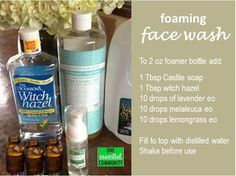 Have you made your own face wash with essential oils? This is a great foaming facial cleanser to use on a daily basis. It works great- calms and cleans troubled skin. And it smells amazing! So much less expensive when you make it your own.