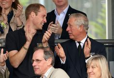 Prince William, Duke of Cambridge and Prince Charles, Prince of Wales watch the athletes during the Invictus Games athletics at Lee Valley on September 11, 2014