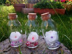 LOT de 3 BOUTEILLES avec bouchon et ROSES NATURELLES fleur stabilisée