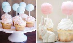 Algodão doce enfeitando os cupcakes