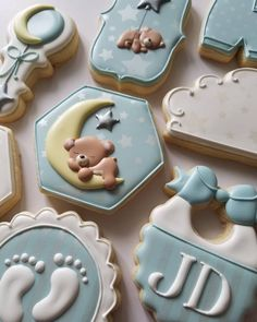 Baby Boy Cookies, Baby Shower Cookies, Moon Cookies, Sugar Cookies, Over The Moon, Cookie Decorating, Cookie Cutters, Desserts, Decorated Cookies