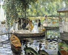 """Pierre Auguste Renoir, """"La Grenouillère"""" – 1869. In their search for natural light, the Impressionists went to a place to the west of Paris which is today known as the """"Island of the Impressionists"""" (Chatou). Here they spent hours painting and partying on the banks of the Seine river and in the famous restaurant """"La Maison Fournaise"""" (still open for business and basically unchanged). Renoir immortalised this tavern in his """"Luncheon of the Boating Party"""" (1881)"""
