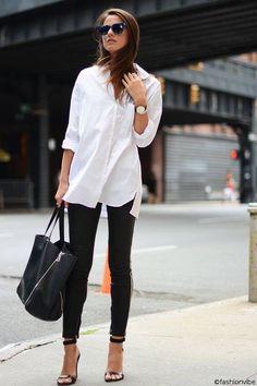 Jean noir chemise blanche