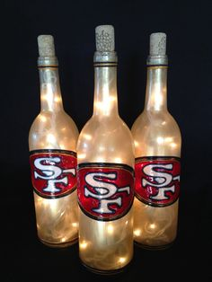 San Fransisco 49ers Wine Bottle Lamp by BottleOfLights on Etsy