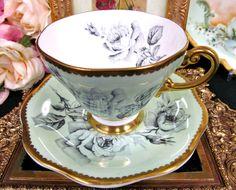 Foley Tea Cup and Saucer Lime Green Rose Pattern Teacup Gold Gilt | eBay