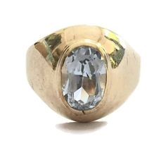 Vintage Art Deco Style Unisex Aquamarine Signet Ring in 9 ct Yellow Gold Band FREE POSTAGE Included by GloryBeVintageWares on Etsy